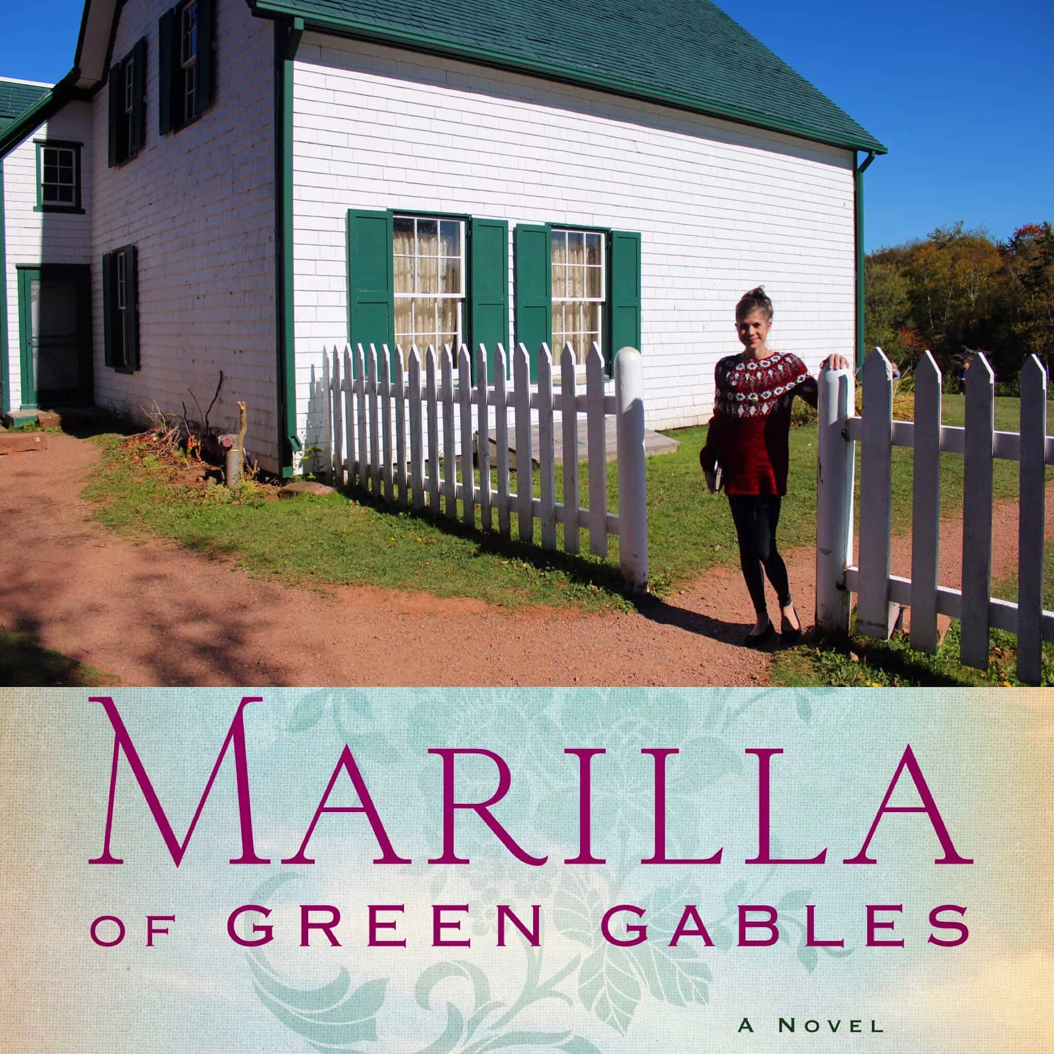 Photo of author Sarah McCoy in front of a house like cover of Marilla of Green Gables